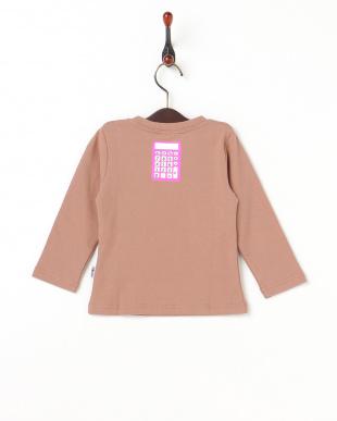 ピンクベージュ(789)  ナンバープリント長袖Tシャツ見る