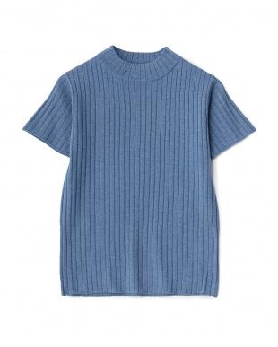 BLUE  ハイネック半袖ニット&ニットスカートセットアップ見る