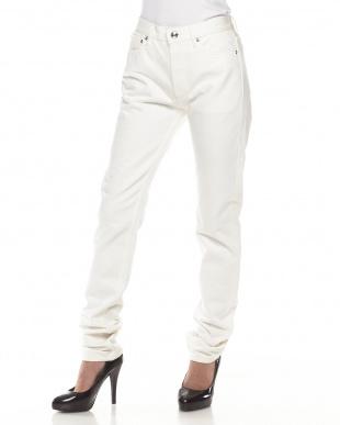 ホワイト 5ポケットジーンズ見る