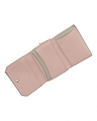 ピンク  コンビレザー 三つ折り財布見る