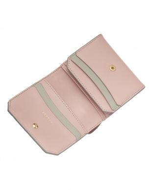 ピンク  コンビレザー 二つ折り財布見る