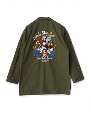 カーキ  KABUKI刺繍オーバーサイズジャケット見る