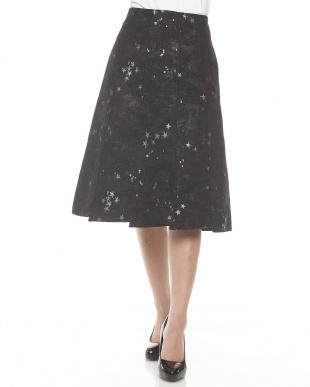 ブラック 星空ジャカードフレアスカート見る
