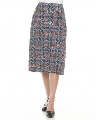 マルチ ファンシーツイードタイトスカート見る