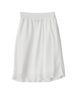 ホワイト  ウエストシャーリングジャカードスカート見る
