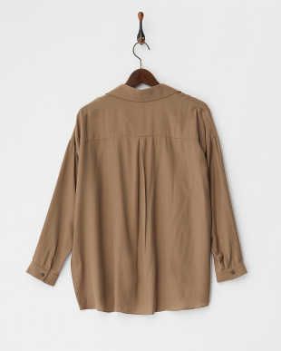 モカブラウン  ラインストーンネックレス付き 裾デザインタックブラウス見る