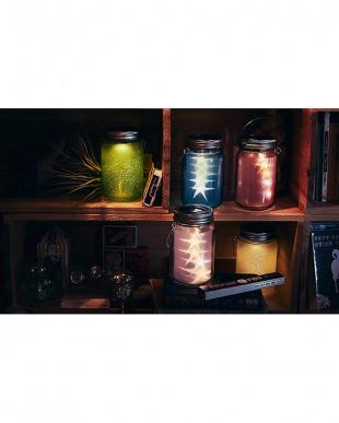 グリーン  ソーラー充電式ライト Grass Jar Frost(A)見る