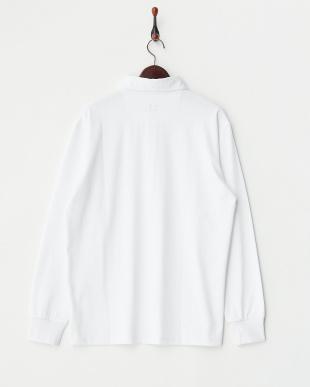 ホワイト  長袖ボタンダウンポロシャツ見る