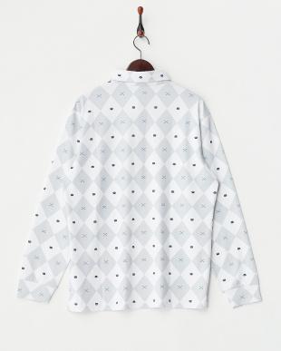 オフホワイト ダイヤ柄 長袖ポロシャツ見る