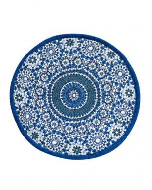 ブルー  手洗いできるゴブラン織サークル型ラグ 140cmR見る