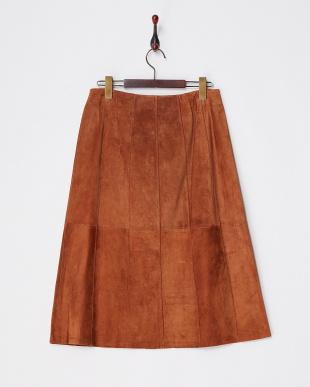 ブラウン 前ボタンスエードスカート見る
