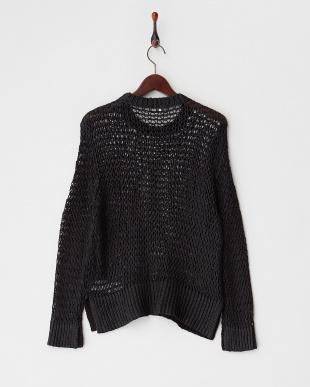 ブラック 透かし編みセーター見る