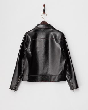 ブラック フェイクレザー袖ジップジャケット見る