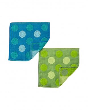 ブルー/グリーン  ガーゼドットタオルハンカチ 2色セット見る