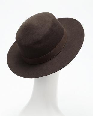 ブラウン  フェルトカンカン帽見る