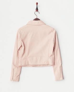 ピンク  フェイクレザーライダースジャケット見る