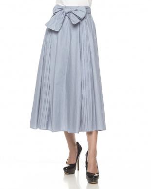 アイスブルー ギャザーロングスカート見る