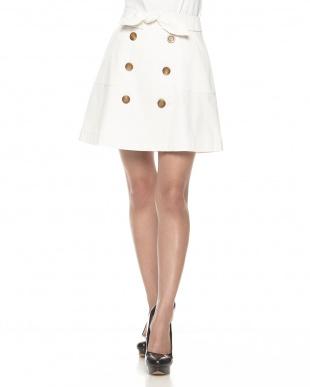 オフホワイト  トレンチ風台形スカート見る