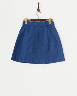 ブルー  トレンチ風台形スカート見る