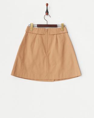ベージュ  トレンチ風台形スカート見る