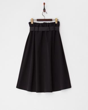 ブラック  ウエストリボンテールカットスカート見る