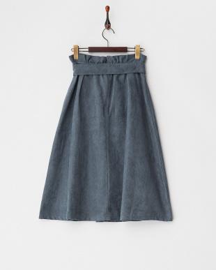 ブルー  共布ベルト付スエードタッチスカート見る