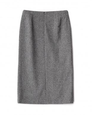 ミディアムグレー 片側サイドスリットスカート見る