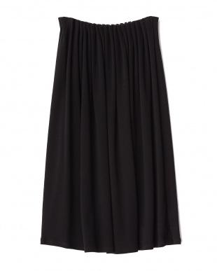 ブラック  ウールギャザースカート見る