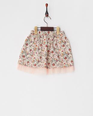 Pink フラワープリントスカート見る