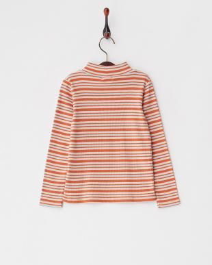 Orange  パステルボーダーテレコハイネックTシャツ見る