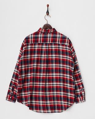 Red ネルチェックボーイフレンドシャツ見る