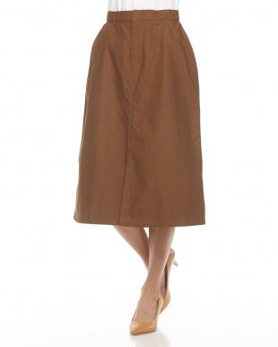 Brown  フロントスリットAラインスカート見る