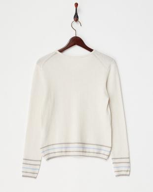 ホワイト  裾ラインセーター見る