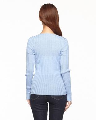 ライトブルー  リブVネックネックセーター見る