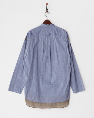 ブルー  ヘム切り替え プルオーバー綿シャツ見る