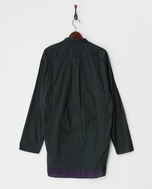 ダークグリーン  ヘム切り替え プルオーバー綿シャツ見る