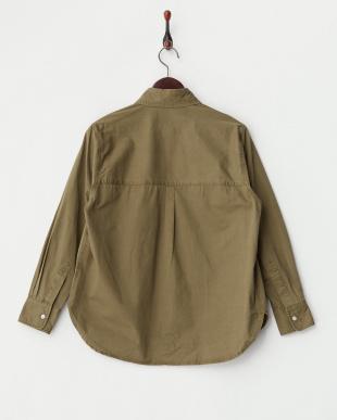 KHAKI 綿ツイルビジュー調装飾ビッグシャツ見る