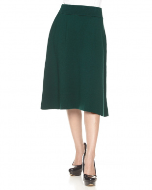 ダークグリーン  シルク混ニットスカート見る