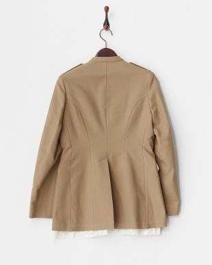 ベージュ 裾カットオフジャケット見る