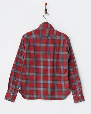 レッド  微起毛チェックシャツ見る