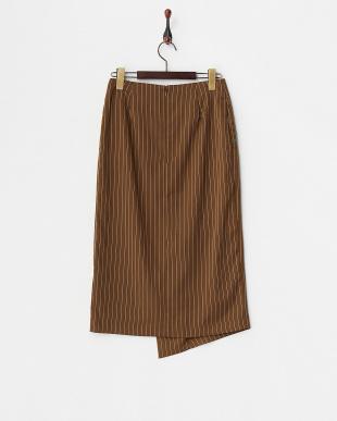 カーキ  フラワー刺繍 ラップデザインスカート見る