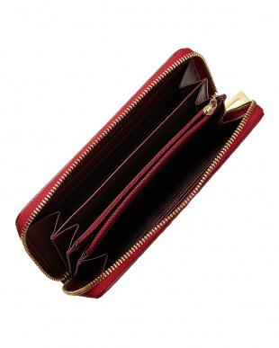 チェリーレッド  ヘンローン社製クロコダイル ラウンドファスナー長財布見る