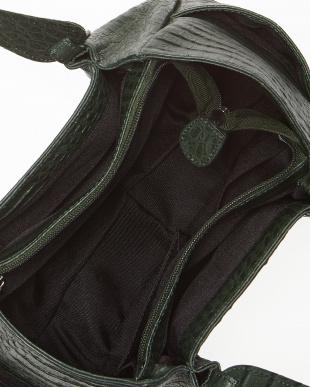 グリーン  カイマンワニ革&牛革クロコ型押し ハンドバッグ見る