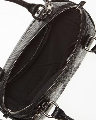 ブラック  カイマンワニ革&牛革クロコ型押し 2WAYハンドバッグ見る