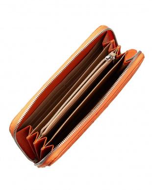 オレンジ  オーストリッチフルポイント ラウンドファスナー長財布見る