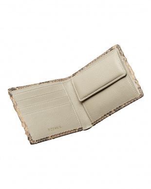 キャメル  ダイヤモンドパイソン 小銭入れ付き2ツ折り財布見る