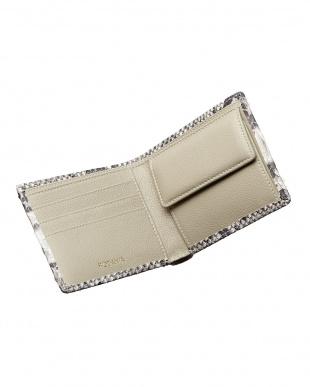 ナチュラル  ダイヤモンドパイソン 小銭入れ付き2ツ折り財布見る