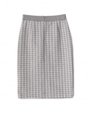 杢グレー 千鳥格子ジャガードニットタイトスカート見る