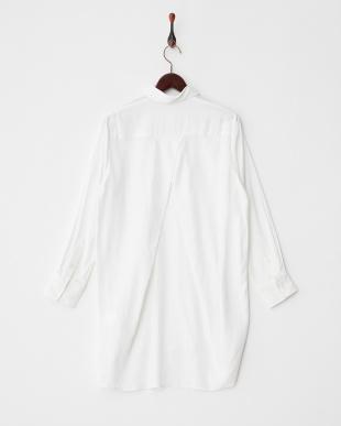 ホワイト  コットンリネンロングシャツ見る