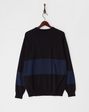BLACK バイカラーブロックドセーター見る